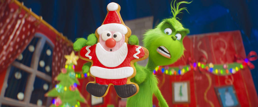 """The Grinch, voiced by Benedict Cumberbatch, is seen in a scene from """"The Grinch."""" (Universal Pictures via AP)"""