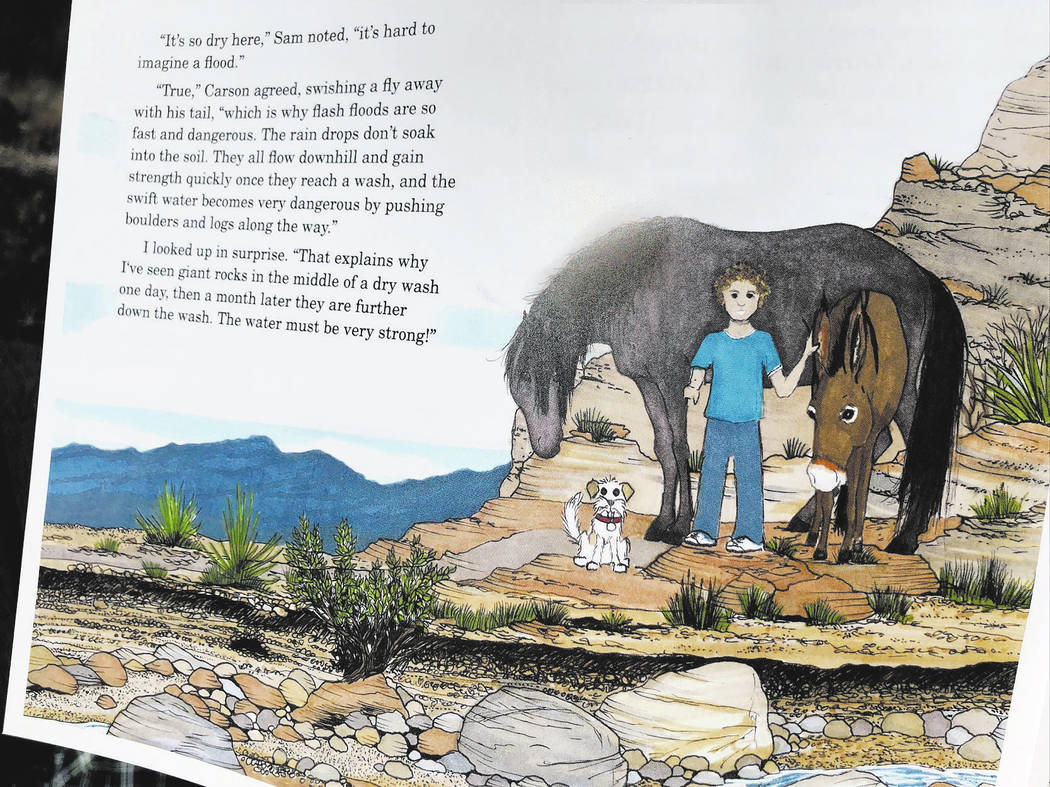 Sam, Millie, Jackson and Carson, a mustang, go on adventures while educating readers about canyon wildlife and history.