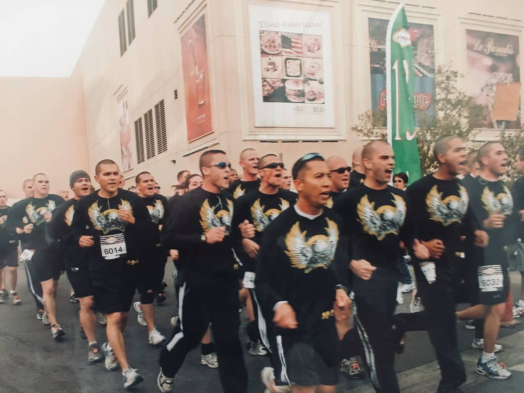 A group from the Las Vegas Metro Police Department runs in the 2008 Rock 'n' Roll Marathon. Photo by Sgt. Ryan Cook/LVMPD