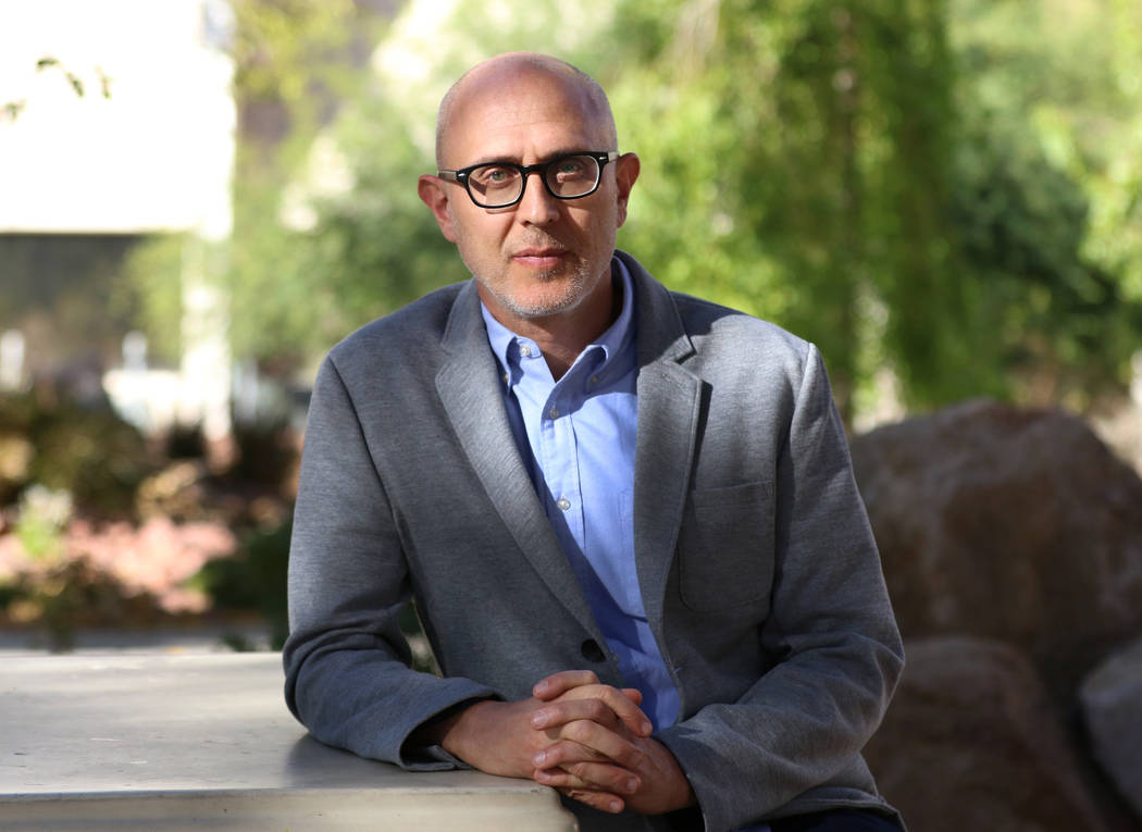 Joshua Wolf Shenk, artistic and executive director of the Beverly Rogers, Carol C. Harter Black Mountain Institute at UNLV, poses for a photo on Wednesday Nov. 7, 2018, in Las Vegas. (Bizuayehu Te ...