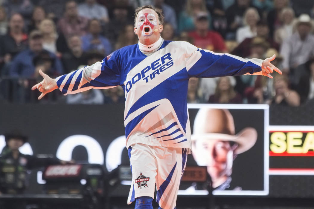 Rodeo clown Flint Rassmusen entertains the crowd during the Professional Bull Riders World Finals on Sunday, November 11, 2018, at T-Mobile Arena, in Las Vegas. Benjamin Hager Las Vegas Review-Journal