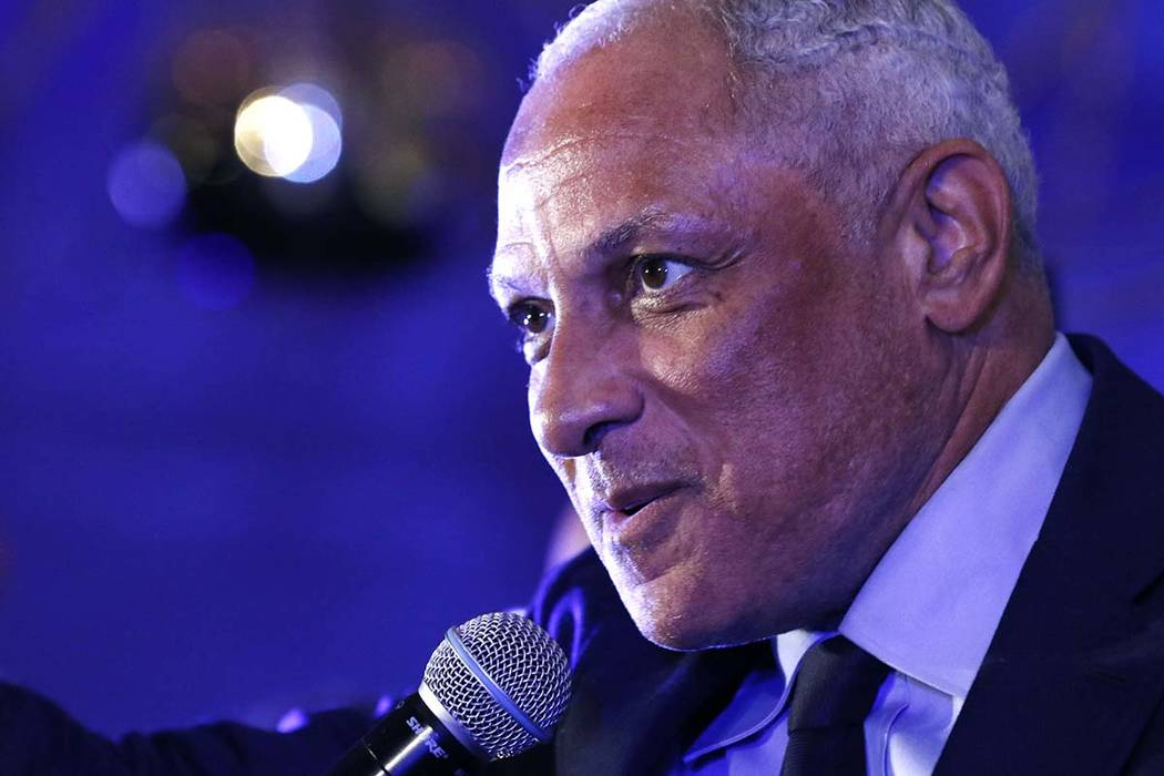 Mike Espy who is seeking to unseat appointed Sen. Cindy Hyde-Smith, R-Miss., and serve the last two years of the six-year term vacated when Republican Thad Cochran retired for health reasons, spea ...