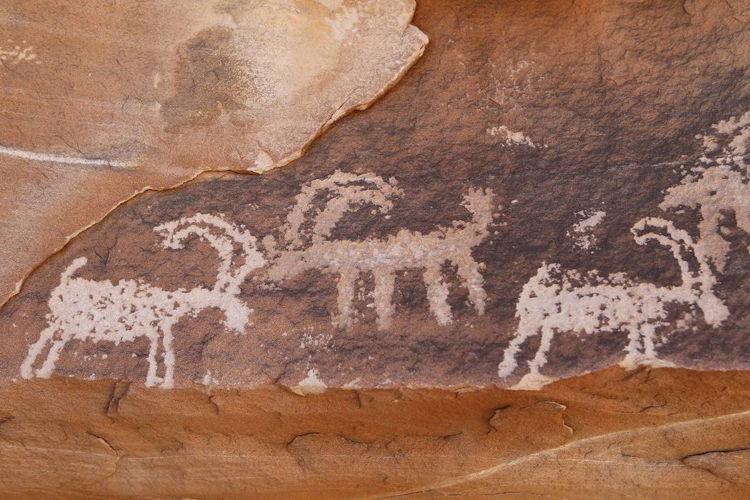 Petroglyphs at Gold Butte National Monument on Tuesday, Jan. 17, 2017, in Gold Butte, Nevada. (Christian K. Lee/Las Vegas Review-Journal)