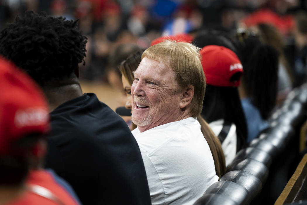 Oakland Raiders owner Mark Davis photographed during the Las Vegas Aces and Atlanta Dream WNBA basketball game at the Mandalay Bay Events Center in Las Vegas, Sunday, Aug. 19, 2018. (Marcus Villag ...