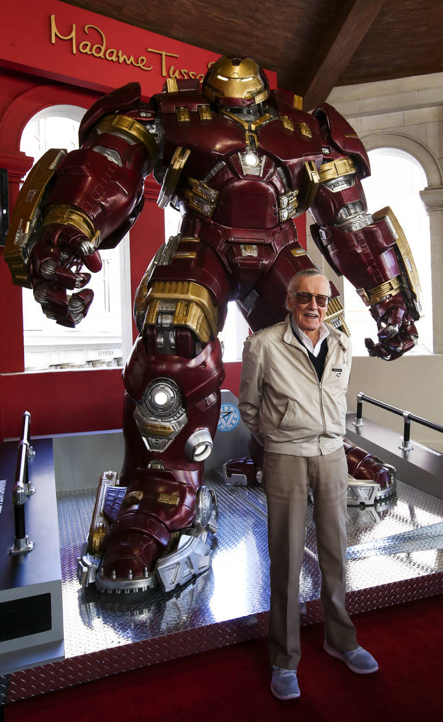 Stan Lee helps unveil the new Hulkbuster Armor at Madame Tussauds Las Vegas at the Venetian hotel-casino in Las Vegas, Tuesday, Feb. 28, 2017. The armor first appearance in Avengers: Age of Ultron ...