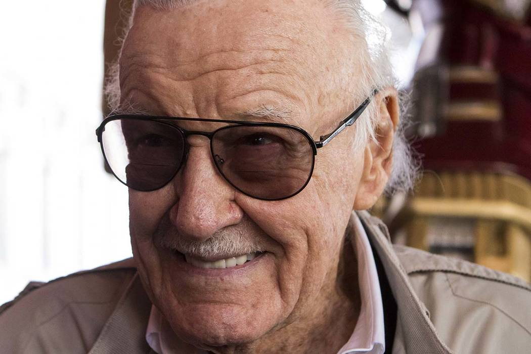 Stan Lee speaks to media during the unveiling of the new Hulkbuster Armor at Madame Tussauds Las Vegas at The Venetian, Tuesday, Feb. 28, 2017. (Miranda Alam/Las Vegas Review-Journal Follow @miran ...