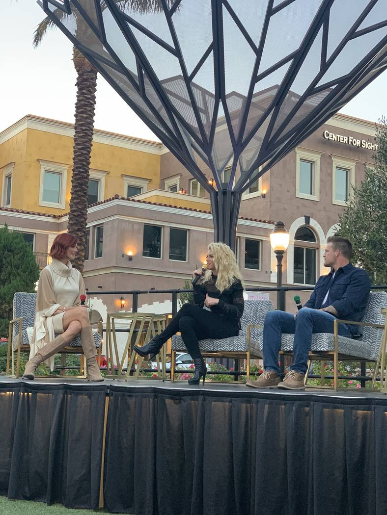 "At right, Bristol and Aubrey Marunde, stars of the HGTV series ""Flip or Flop Vegas"" talks with Dani Reeves, who is the moderator for the Designer Showcase at Tivoli Village. (Tivoli Village)"