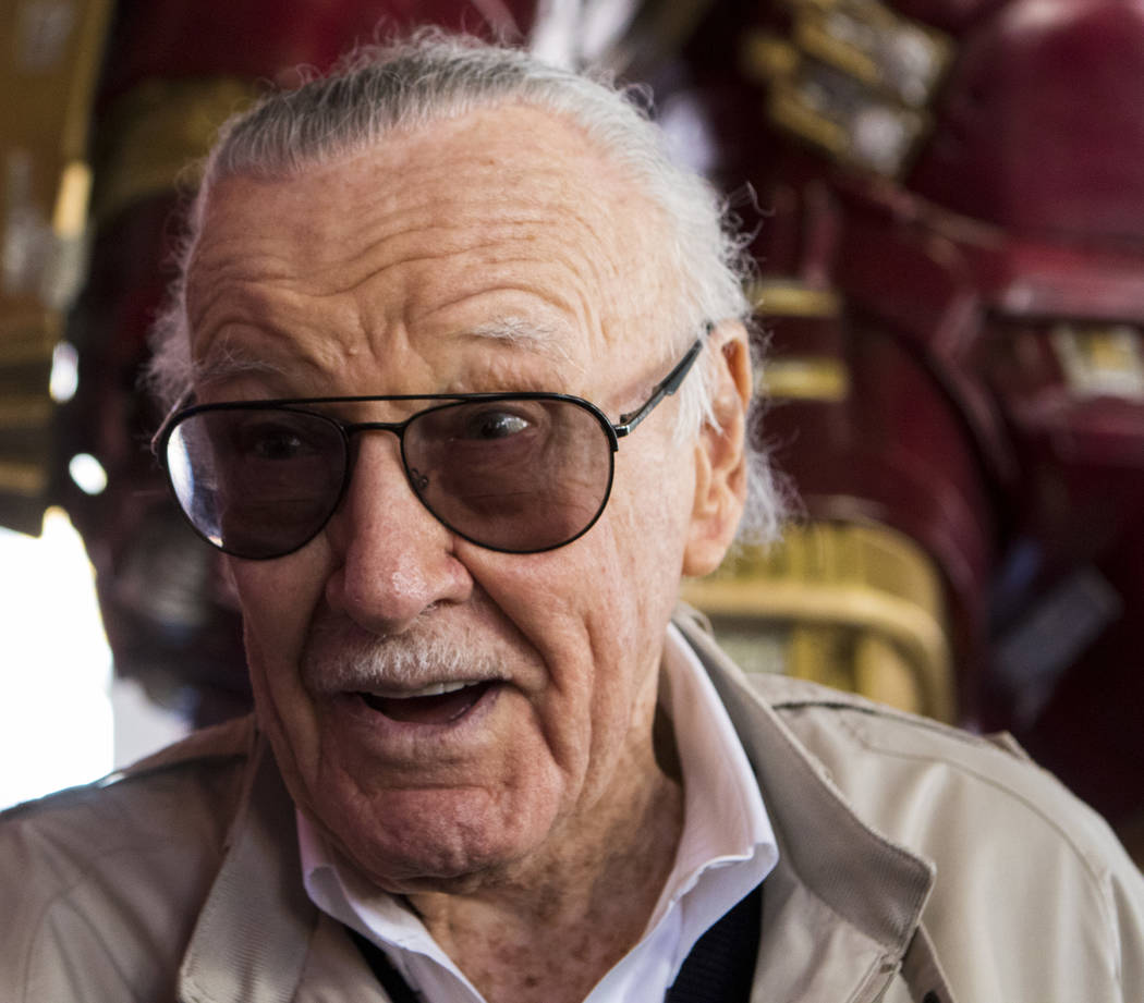 Stan Lee speaks to media during the unveiling of the new Hulkbuster Armor at Madame Tussauds Las Vegas at the Venetian hotel-casino in Las Vegas, Tuesday, Feb. 28, 2017. The armor first appearance ...