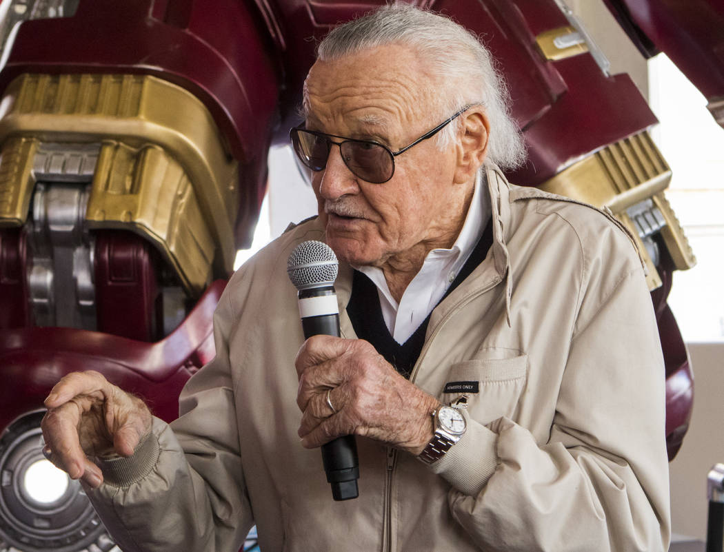 Stan Lee speaks to the audience during the unveiling of the new Hulkbuster Armor at Madame Tussauds Las Vegas at the Venetian hotel-casino in Las Vegas, Tuesday, Feb. 28, 2017. The armor first app ...