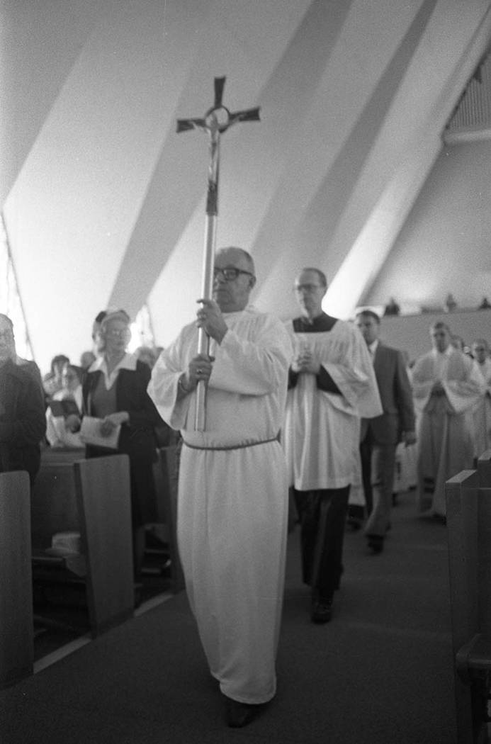 A memorial service for the 84 victims of the Nov. 21, 1980, MGM Grand Hotel fire at the Guardian Angel Cathedral 302 East Desert Inn Road. Names include Bishop Norman F. McFarland of the Catholic ...
