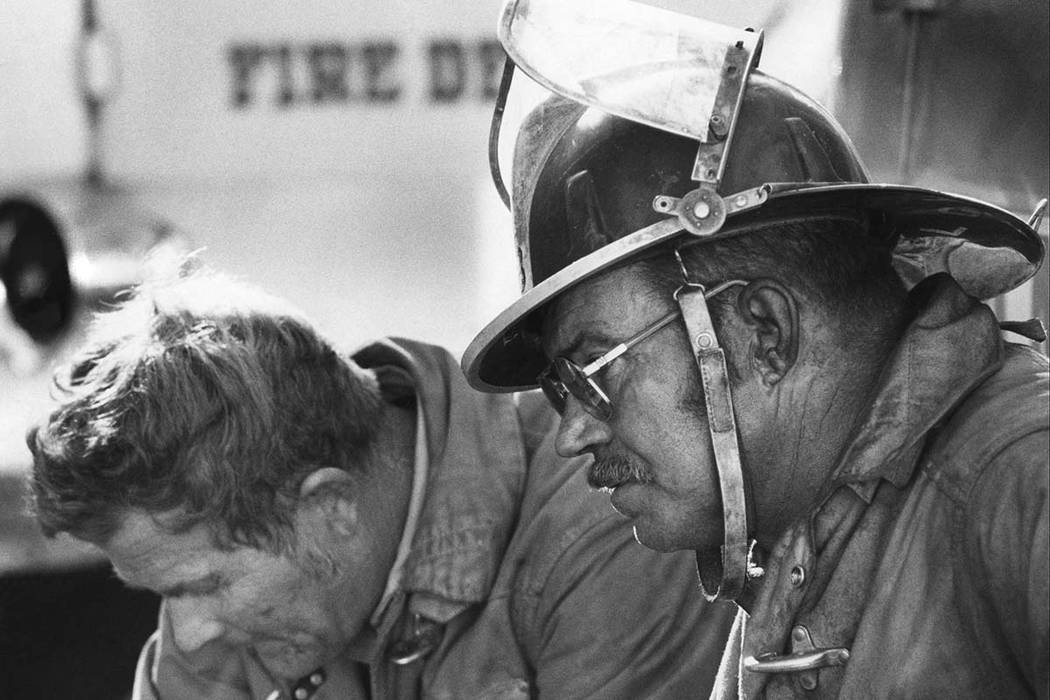 Clark County Firefighters Andy Anderson and Roy Welch are pictured at the November 21, 1980 MGM Grand Hotel fire. Over 200 firefighters responded to the blaze. Initial responders arrived on scene ...