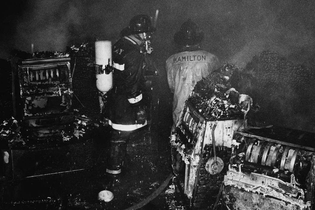 Clark County Firefighters survey the damage on the casino floor following the November 21, 1980 MGM Grand Hotel fire. Over 200 firefighters responded to the blaze. Initial responders arrived on sc ...