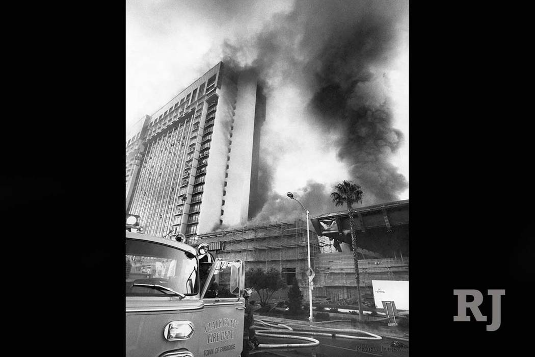 Fire raged through the MGM Grand Hotel on Friday November 21, 1980. (Gary Thompson/Las Vegas Review-Journal)