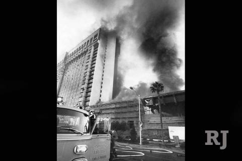 Fire raged through the MGM Grand Hotel on Friday November 21, 1980. (Gary Thompson/Las Vegas Re ...