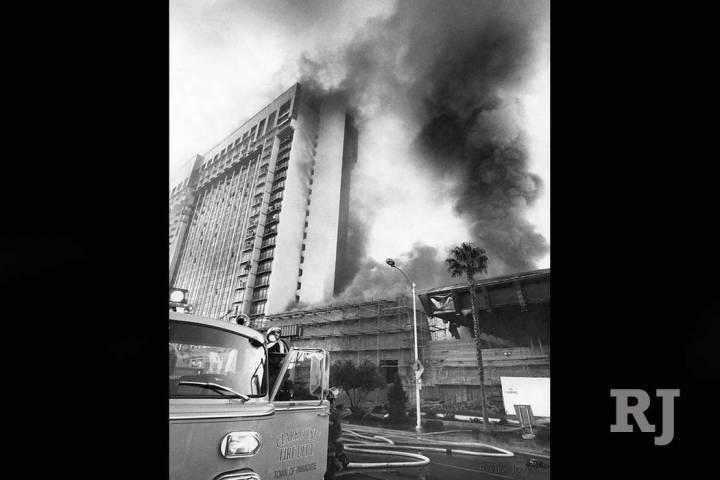 Fire raged through the MGM Grand Hotel on Friday November 21, 1980. (Gary Thompson/Las Vegas Re ...