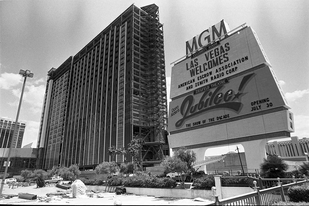 Construction work at the MGM Grand Hotel at the southeast corner of South Las Vegas Boulevard and East Flamingo Road. MGM began its reconstruction within one week of the November 21, 1980 fire. An ...