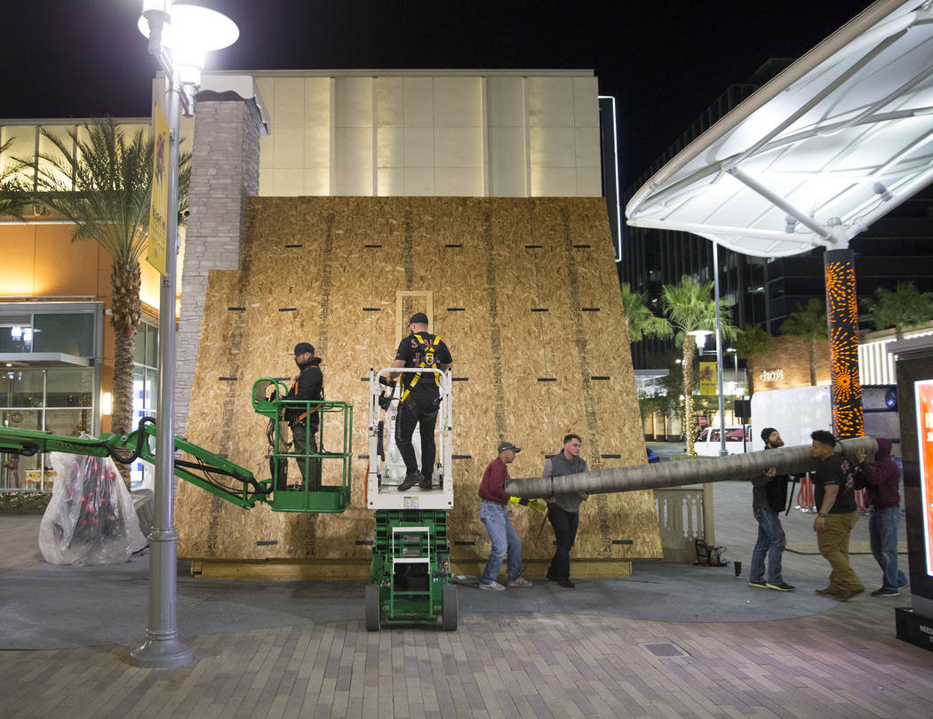 Holiday work continues on the chalet at Downtown Summerlin on Wed., November 7, 2018, in Las Vegas. Benjamin Hager Las Vegas Review-Journal