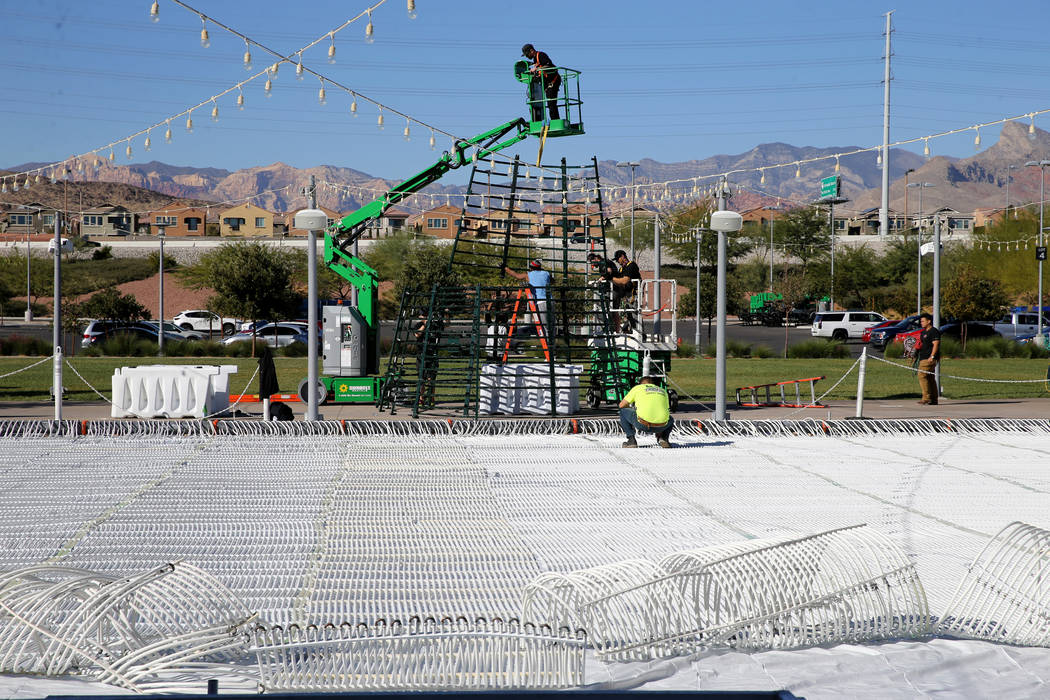 Rock Rink temporary ice rink and Christmas tree under construction at The Lawn in Downtown Summerlin in Las Vegas Tuesday, Nov. 6, 2018. K.M. Cannon Las Vegas Review-Journal @KMCannonPhoto