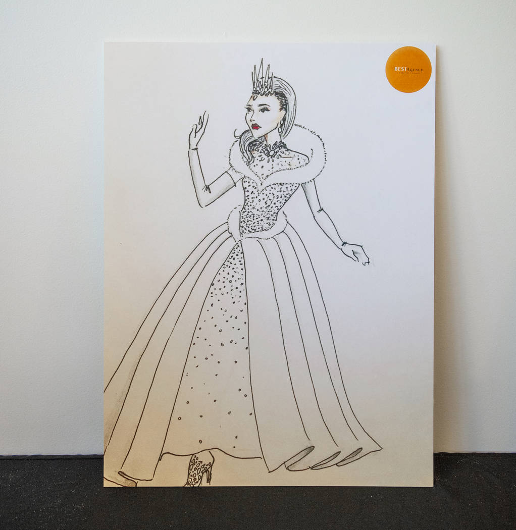 A sketch of the Snow Queen float character costume details the overall concept for the outfit in preparation for the annual Downtown Summerlin holiday parade in Las Vegas, Wednesday, Nov. 14, 2018 ...