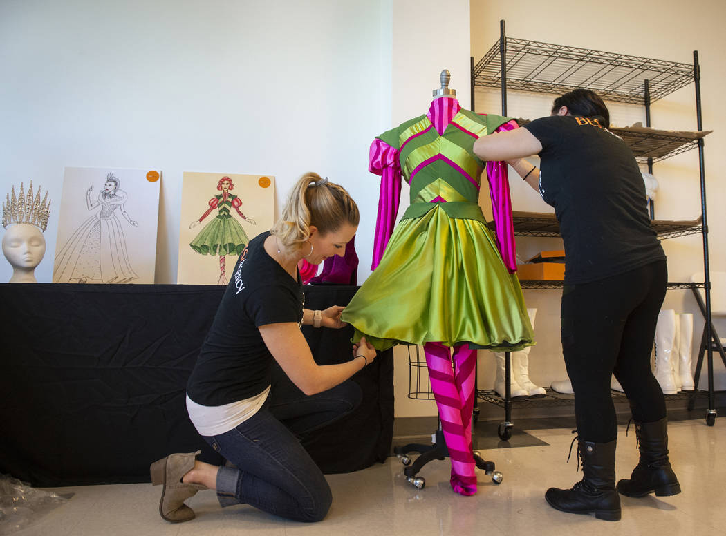Angelina Savage, left, and Gwynn Lloyd-Hughes touch up a character costume in preparation for the annual Downtown Summerlin holiday parade in Las Vegas, Wednesday, Nov. 14, 2018. Caroline Brehman ...