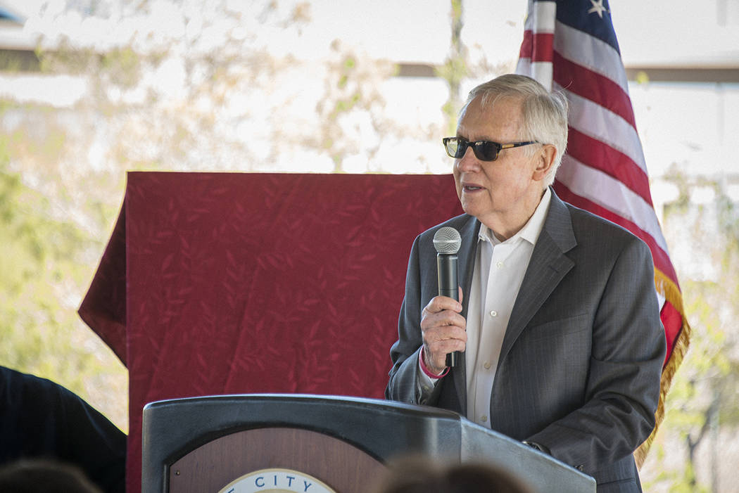 Sen. Harry Reid talks about his connection to the city of Henderson at a ceremony Feb. 22 at Acacia Demonstration Gardens. (Courtesy)