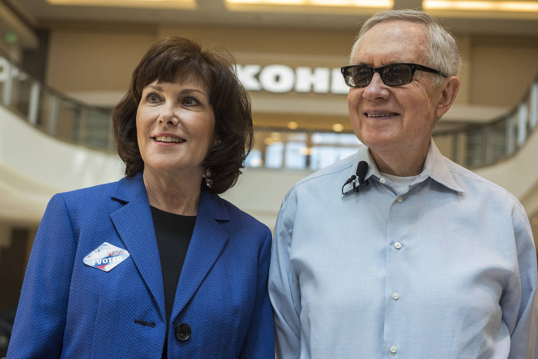 Jacky Rosen and U.S. Senator Harry Reid, D-Nev., speak to the media after voting at the Galleria Mall at Sunset in Henderson, Nev., on Thursday, June 2, 2016. (Martin S. Fuentes/Las Vegas Review-J ...