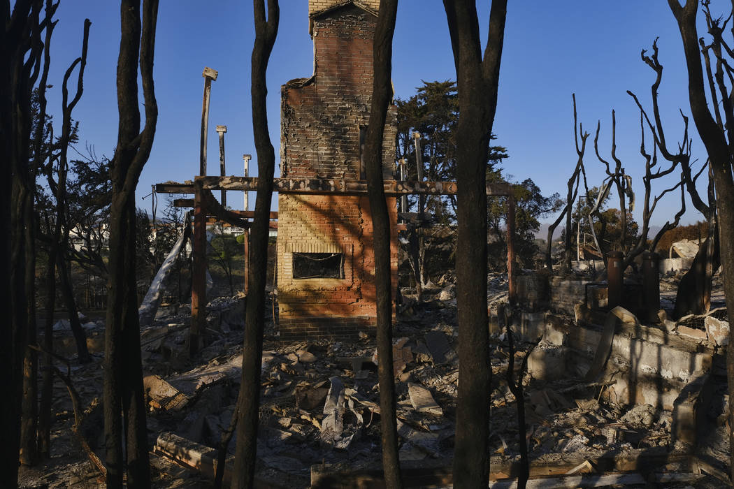 Burned trees surround a destroyed home leaving only the fireplace in Point Dume in Malibu, Calif., on Sunday, Nov. 11, 2018. (AP Photo/Richard Vogel)