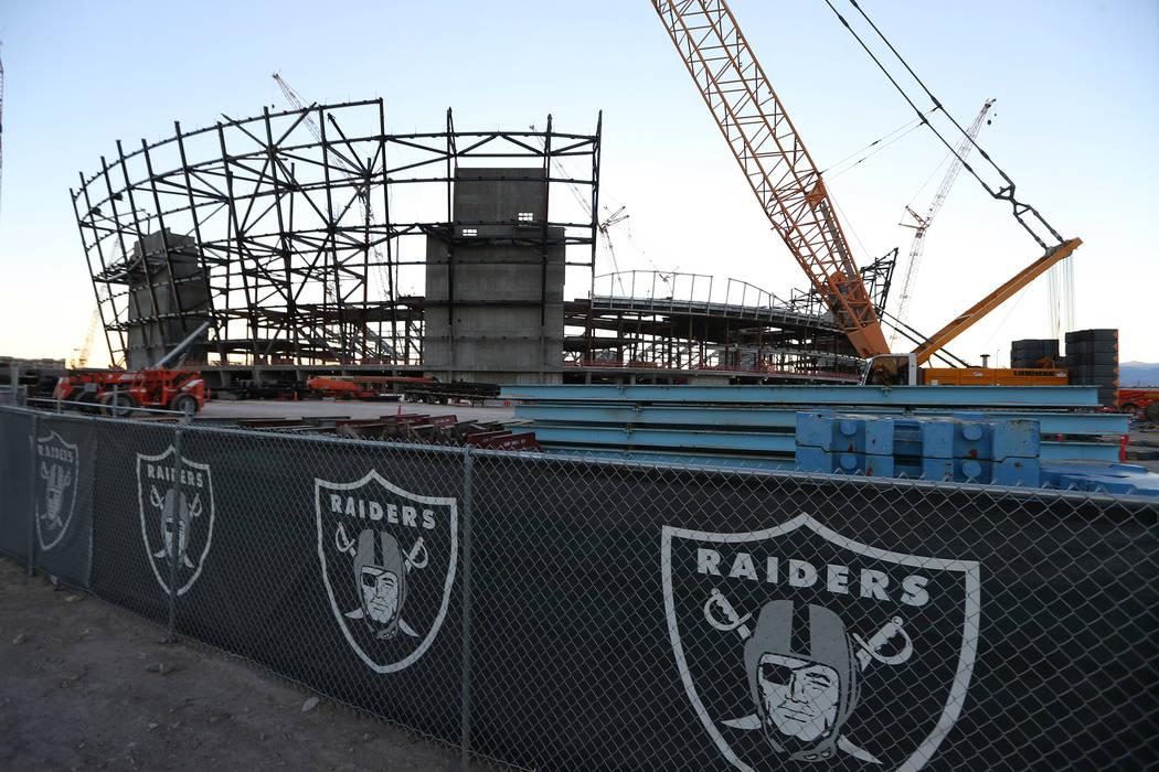 The Raiders stadium construction site in Las Vegas, Monday, Nov. 12, 2018. Erik Verduzco Las Vegas Review-Journal @Erik_Verduzco