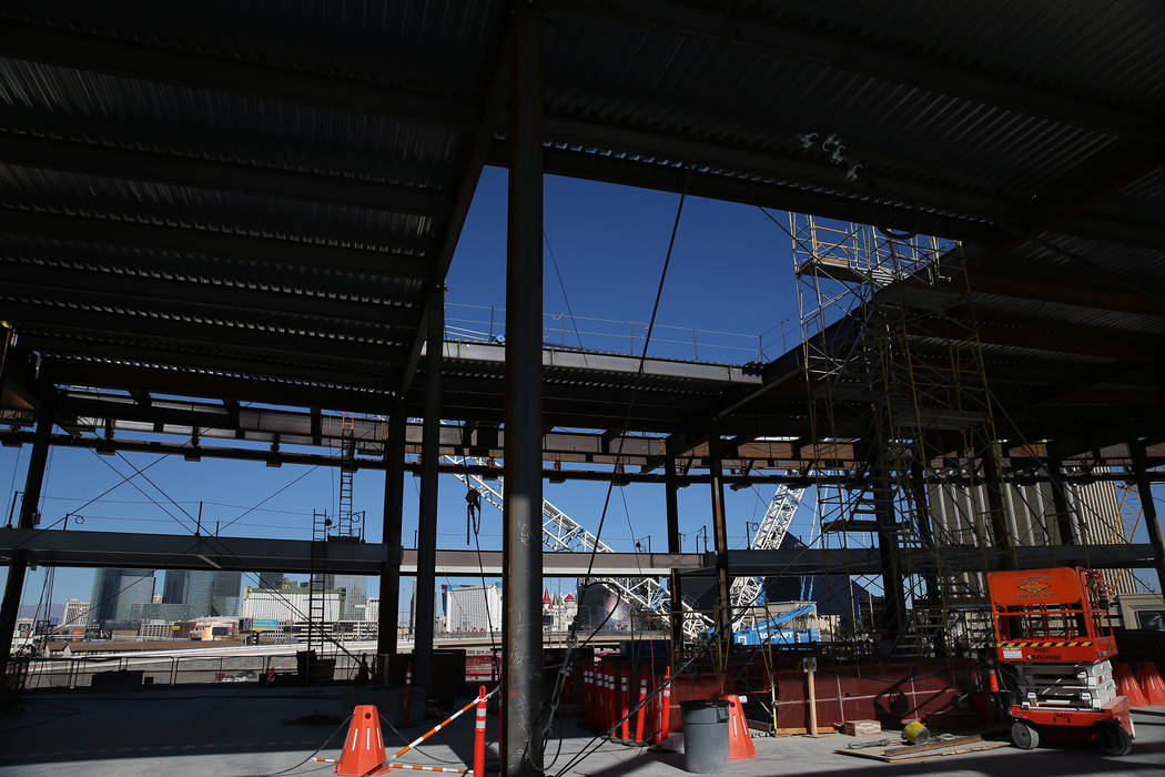 The view from the lower concourse where the Al Davis's eternal flame will be built and will reach above to the main concourse through a ceiling opening at the Raiders stadium conduction site in La ...