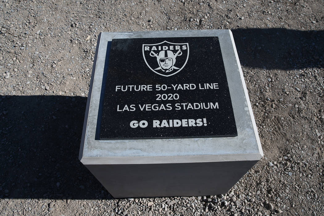 The 50-yard line marker at a quiet Raiders stadium construction site in Las Vegas as workers were off for the day in recognition of Veterans Day on Monday, Nov. 12, 2018. Erik Verduzco Las Vegas R ...