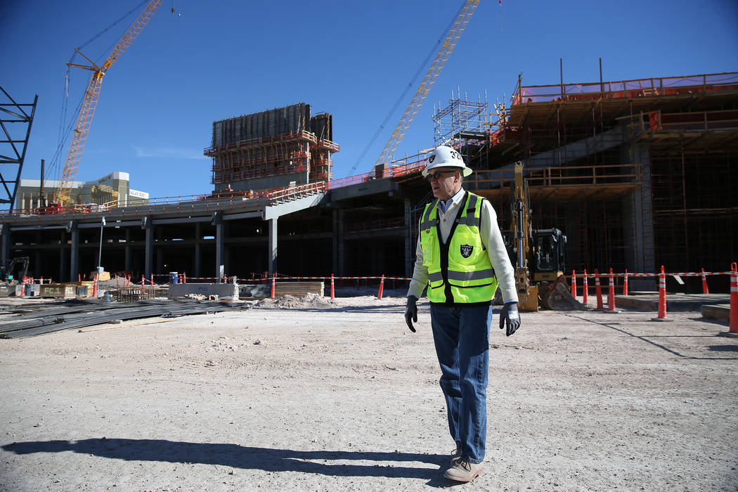 Don Webb, chief operating officer of the LV Stadium Co., gives a tour at a quiet Raiders stadium construction site in Las Vegas as workers were off for the day in recognition of Veterans Day on Mo ...