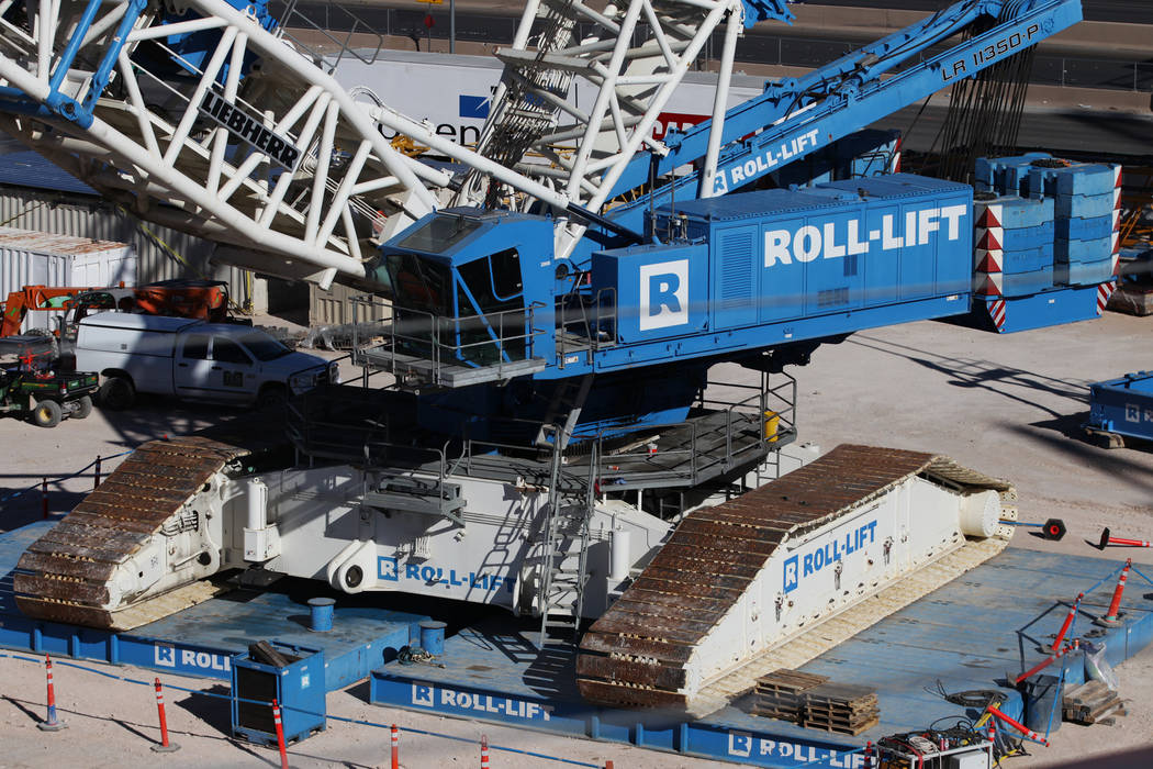 A Liebherr Roll-Lift at a quiet Raiders stadium construction site in Las Vegas as workers were off for the day in recognition of Veterans Day on Monday, Nov. 12, 2018. Erik Verduzco Las Vegas Revi ...