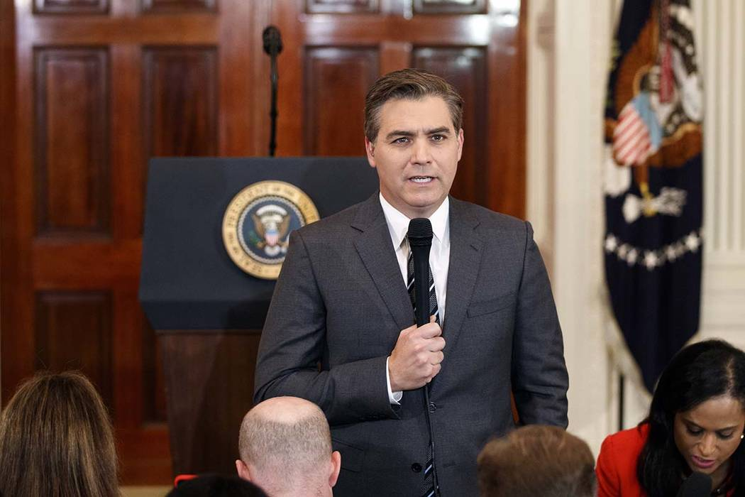 CNN journalist Jim Acosta does a standup before a new conference with President Donald Trump in the East Room of the White House in Washington, Nov. 7, 2018. (Evan Vucci/AP)