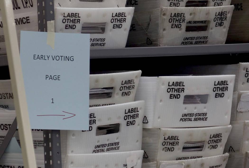 Sorted ballots are seen Monday, Nov. 12, 2018, at the Broward Supervisor of Elections office in Lauderhill, Fla. The Florida recount continued Monday in Broward County. (Joe Cavaretta /South Flori ...