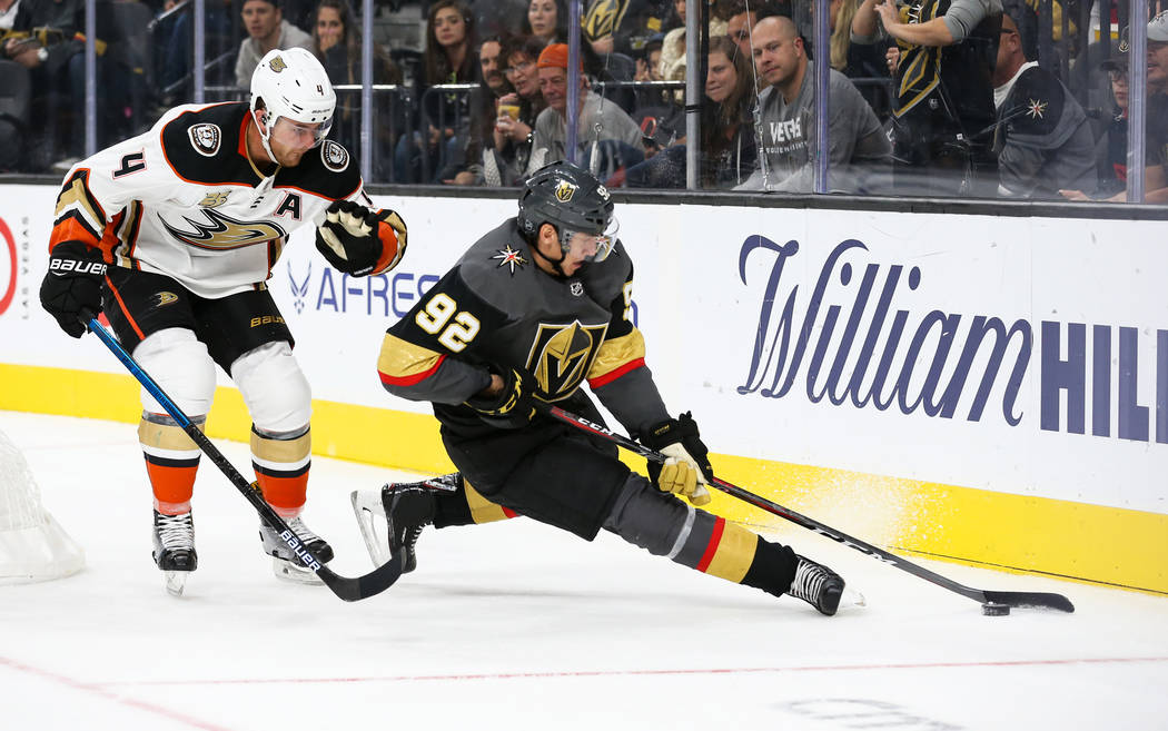 Vegas Golden Knights left wing Tomas Nosek (92) in action blocking the puck from Anaheim Ducks defenseman Cam Fowler (4) during the third period of an NHL hockey game at T-Mobile Arena in Las Vega ...