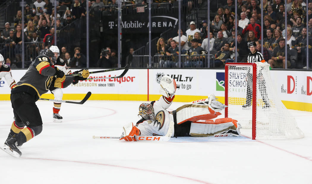 Vegas Golden Knights right wing Reilly Smith (19) attempts a shot on the Anaheim Ducks during the third period of an NHL hockey game at T-Mobile Arena in Las Vegas, Saturday, Oct. 20, 2018. Caroli ...