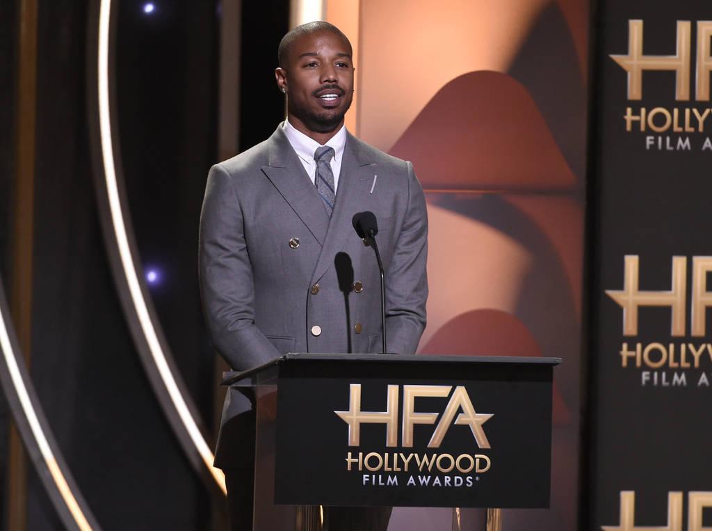 "Michael B. Jordan presents the Hollywood film award to ""Black Panther"" at the Hollywood Film Awards on Sunday, Nov. 4, 2018, at the Beverly Hilton Hotel in Beverly Hills, Calif. (Photo b ..."