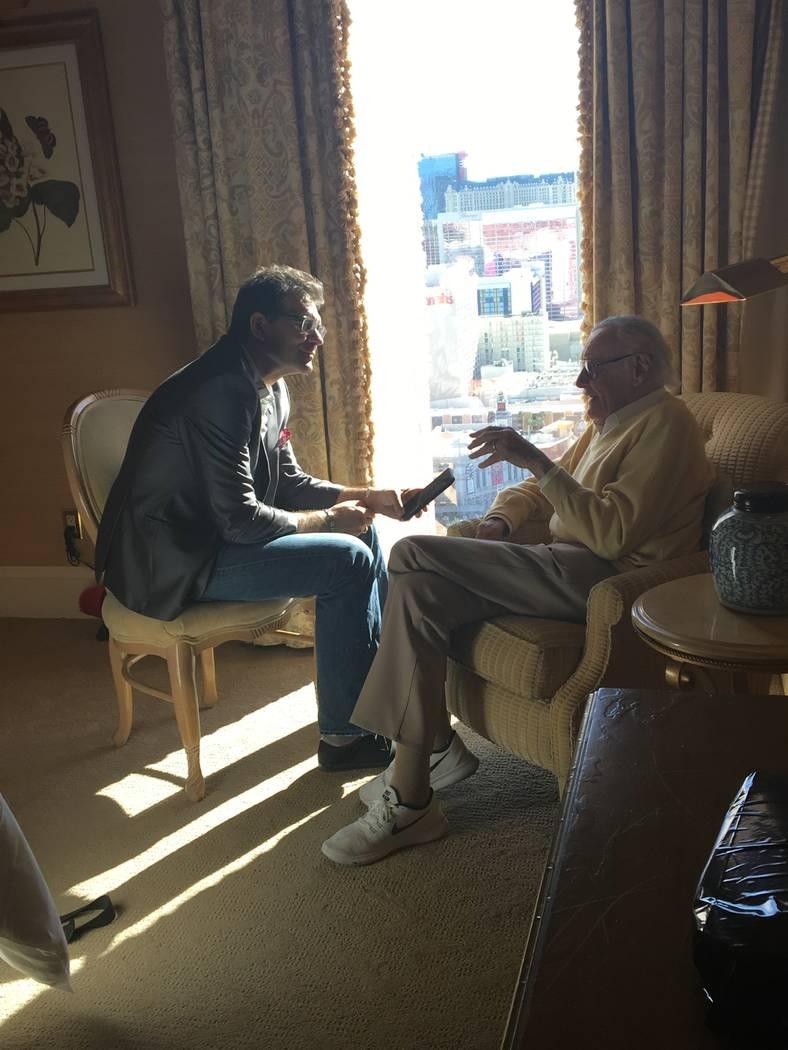 Review-Journal columnist John Katsilometes interviews Stan Lee at Treasure Island on Nov. 18, 2016. (PR Plus)