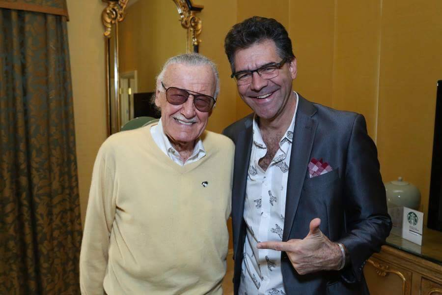 Review-Journal columnist John Katsilometes is shown with Stan Lee at Treasure Island on Nov. 18, 2016. (PR Plus)