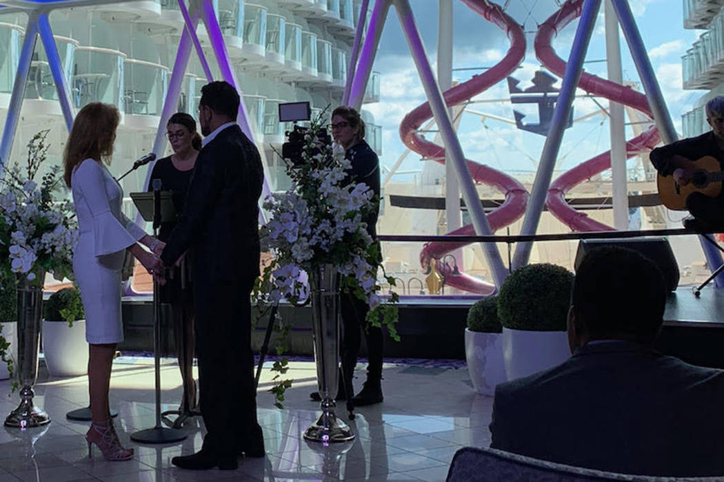 Clint Holmes and Kelly Clinton-Holmes renew their wedding vows aboard the Symphony of the Seas on Sunday, Nov. 11, 2018. (Nick Weir/Royal Caribbean)