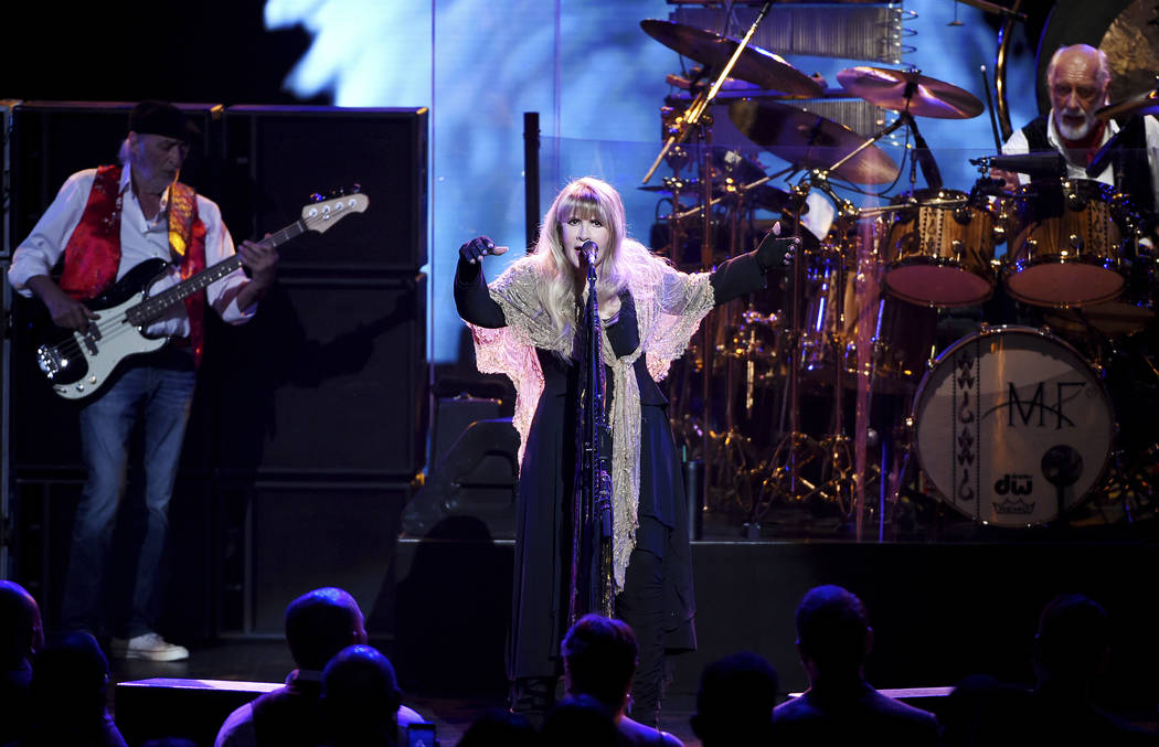 Singer Stevie Nicks, center, John McVie and Mick Fleetwood, right, of Fleetwood Mac perform in New York on Jan. 26, 2018. (Photo by Evan Agostini/Invision/AP, File)