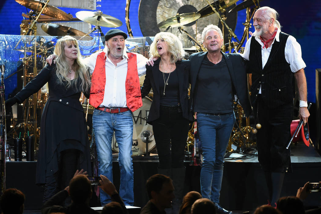 Fleetwood Mac band members, from left, Stevie Nicks, John McVie, Christine McVie, Lindsey Buckingham and Mick Fleetwood appear at the 2018 MusiCares Person of the Year tribute honoring Fleetwood M ...