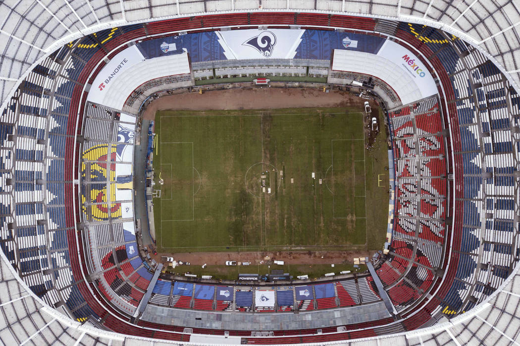 Mexico's Azteca Stadium is seen from above in Mexico City, Tuesday, Nov. 13, 2018. The NFL has moved the Los Angeles Rams' Monday night showdown with the Kansas City Chiefs from Mexico City to Los ...