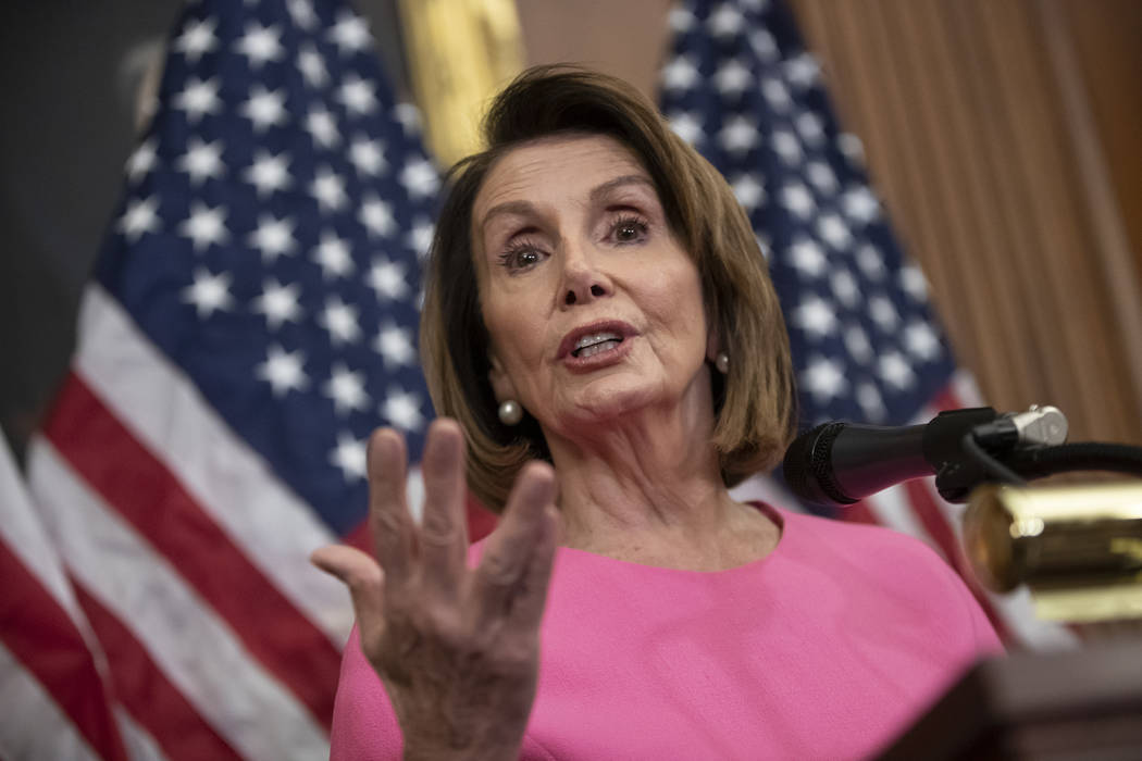 House Minority Leader Nancy Pelosi, D-Calif., speaks in during a news conference on Capitol Hill in Washington, Wednesday, Nov. 7, 2018. Pelosi says she's confident she will win enough support to ...