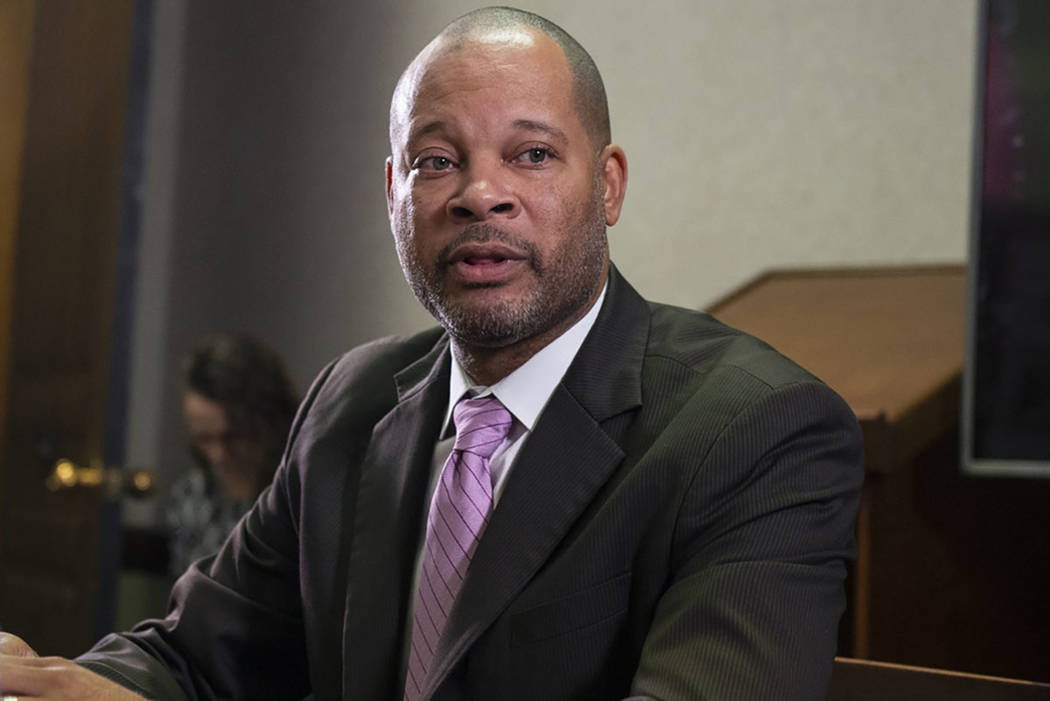 Aaron Ford speaks to the Review-Journal reader panel about his platform going into the 2018 midterm elections in Las Vegas, Tuesday, Oct. 16, 2018. Caroline Brehman/Las Vegas Review-Journal @carol ...