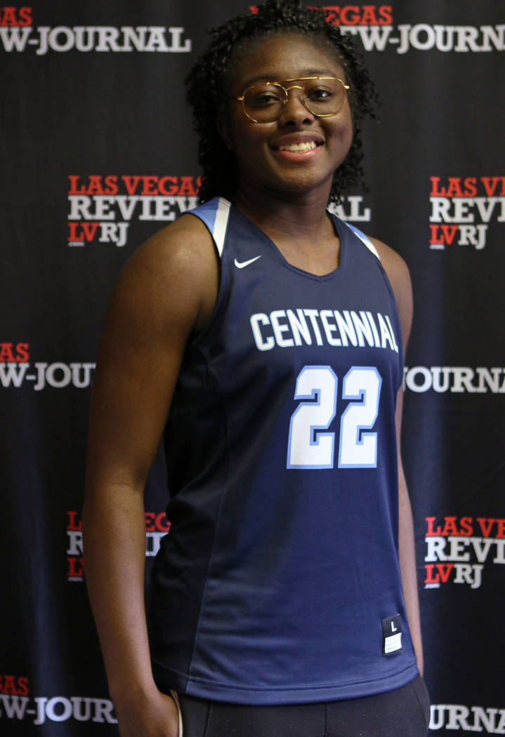 Eboni Walker from Centennial High School's basketball team is photographed at the Review-Journal in Las Vegas, Wednesday, March 14, 2018. She is on the All-Star Team for Best of Nevada Preps. Heid ...