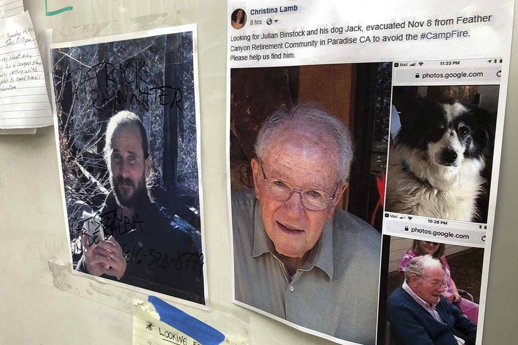 Messages are shown on a bulletin board at The Neighborhood Church in Chico, Calif., on Tuesday, Nov. 13, 2018. Numerous postings fill the message board as evacuees, family and friends search for p ...