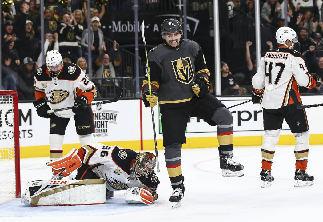 Golden Knights right wing Alex Tuch (89) celebrates his goal past Anaheim Ducks goaltender John Gibson (36) during the first period of an NHL hockey game at T-Mobile Arena in Las Vegas on Wednesda ...
