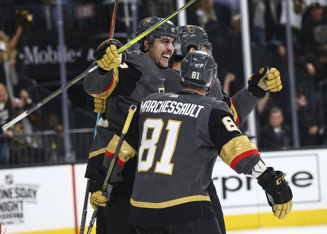 Golden Knights right wing Alex Tuch (89) celebrates his goal with Golden Knights center Jonathan Marchessault (81) during the first period of an NHL hockey game against the Anaheim Ducks at T-Mobi ...