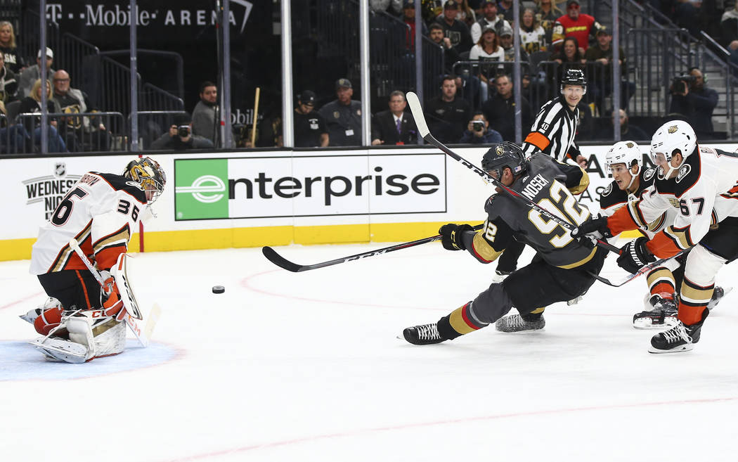 Golden Knights left wing Tomas Nosek (92) shoots the puck against Anaheim Ducks goaltender John Gibson (36) during the first period of an NHL hockey game at T-Mobile Arena in Las Vegas on Wednesda ...